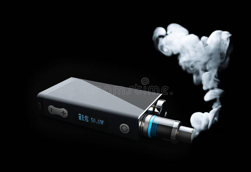 vape con la nube de humo blanca del fuego ejemplo 3d en fondo negro imagenes de archivo