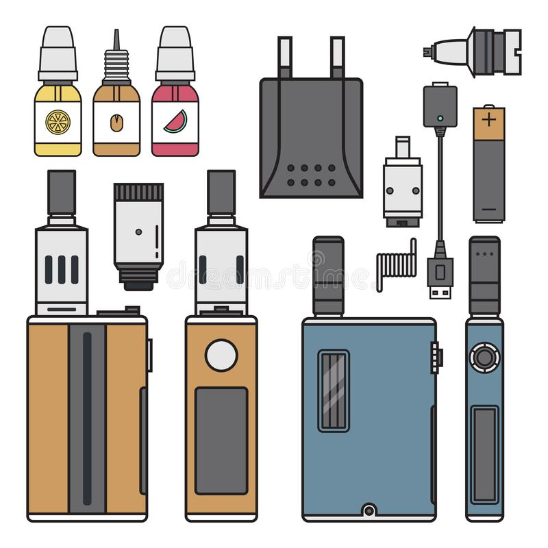 Vape device vector cigarette vaporizer vapor juice vape bottle flavor illustration battery coil electronic nicotine. Vape device vector cigarette vaporizer vapor royalty free illustration