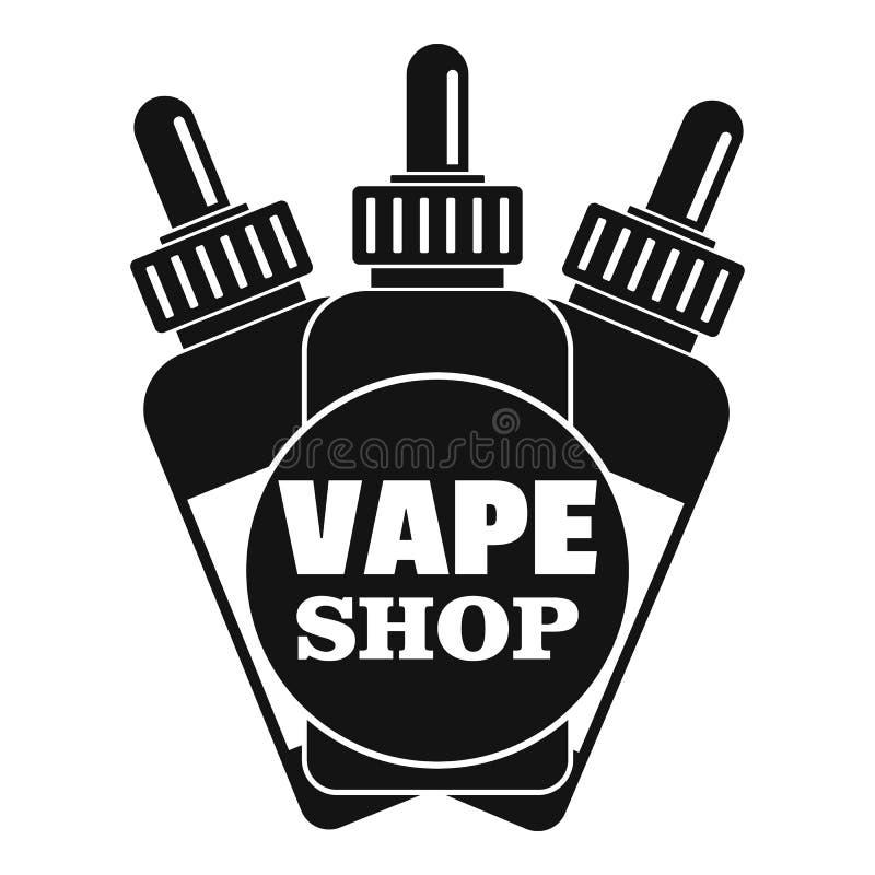 Vape flytande shoppar logoen, enkel stil vektor illustrationer