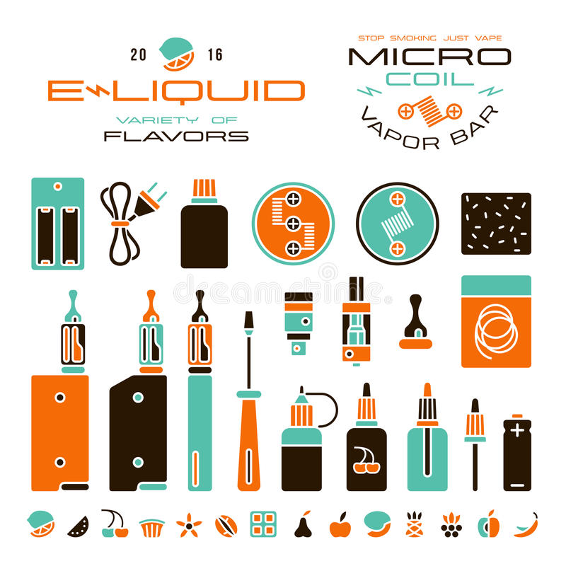 Vape labels, e-cigarette and fruit flavor icons. In flat style. Color print on white background vector illustration