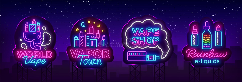 Vape neonowego znaka kolekci sklepowy wektor Vaping sklepu logowie ustawiają emblemat Neonowego, Swój Vape sklepu pojęcia opary m royalty ilustracja