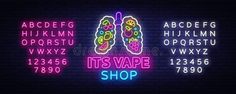 Vape neonowego znaka sklepowy wektor Vaping sklepu loga emblemat Neonowy, Swój Vape sklepu pojęcie Z płucami i owoc, Walczący dym ilustracji