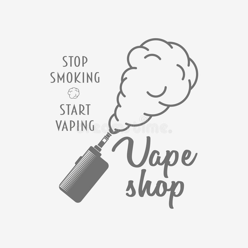 Vape Shop Badge, Logo Or Symbol Design Concept Isolated On White