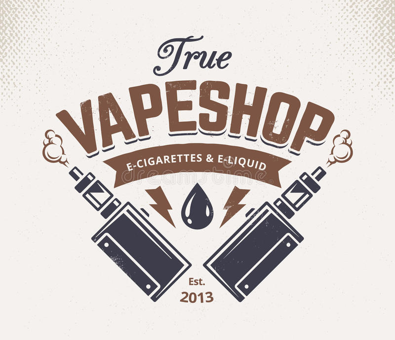 Vape Shop Emblem royalty free illustration
