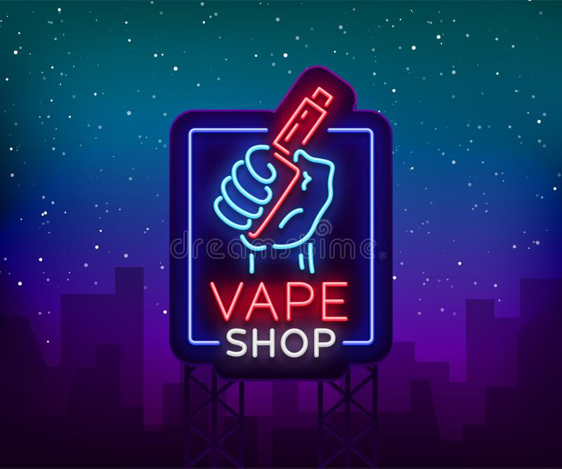 Vape shop neon sign, billboard. Vector illustration. Neon sign, a night glowing banner selling electronic cigarettes royalty free illustration