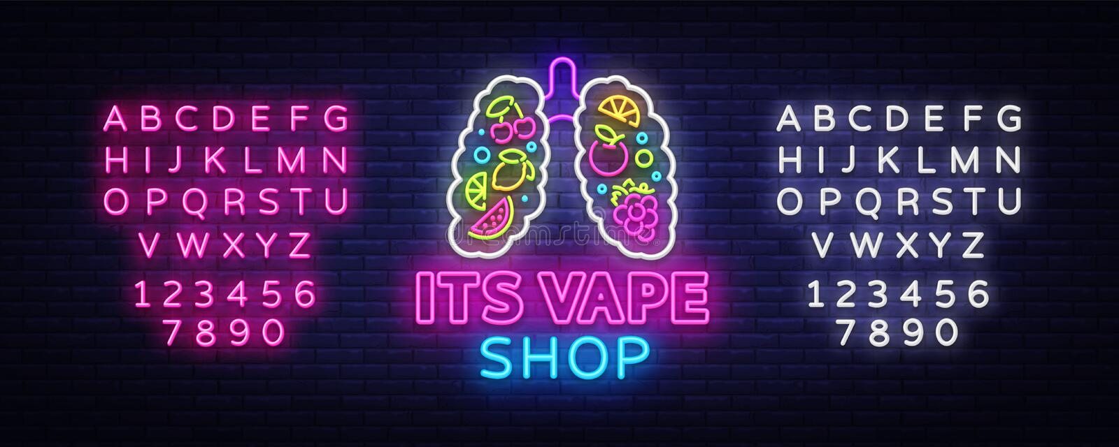 Vape shop neon sign vector. Vaping Store Logo Emblem Neon, Its Vape Shop Concept With Lungs and Fruits, Fighting Smoking stock illustration