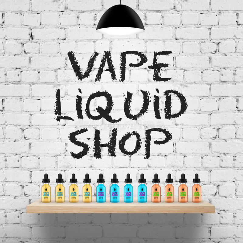 Vape shop wood shelf stock illustration