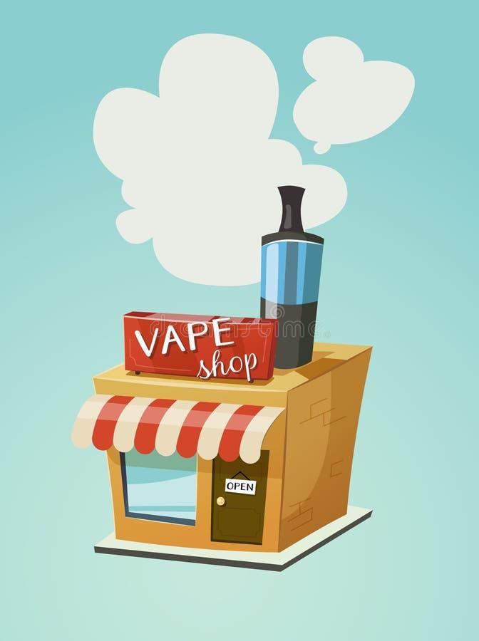 Vape shoppar lagerframdelen vektor illustrationer