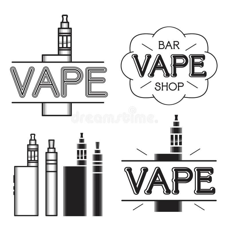 Vape shoppar logo vektor illustrationer
