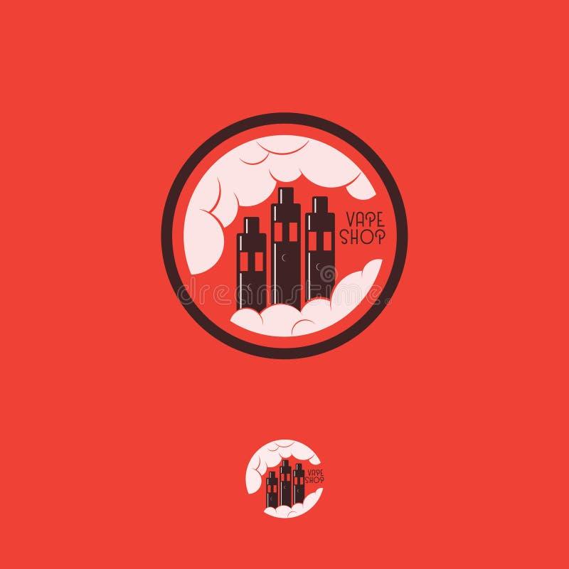Vape shoppar logo Sprejflaskadiagramemblem Sprejflaskor som en fabrik med moln stock illustrationer