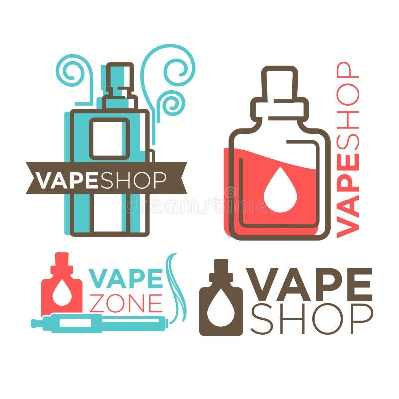 Vape shoppar logotyper på illustration för vitlägenhetvektor vektor illustrationer
