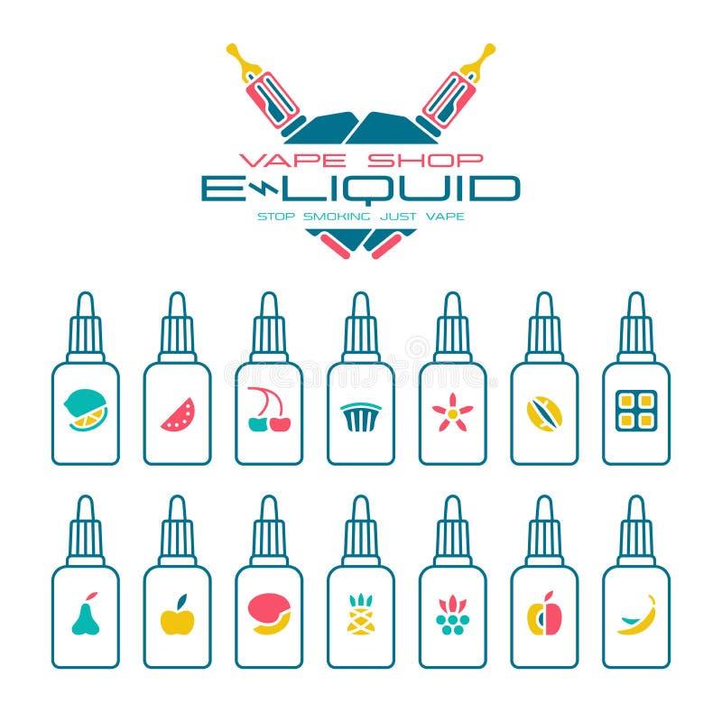 Vape shoppar uppsättningen för e-flytande anstrykningsymboler vektor illustrationer