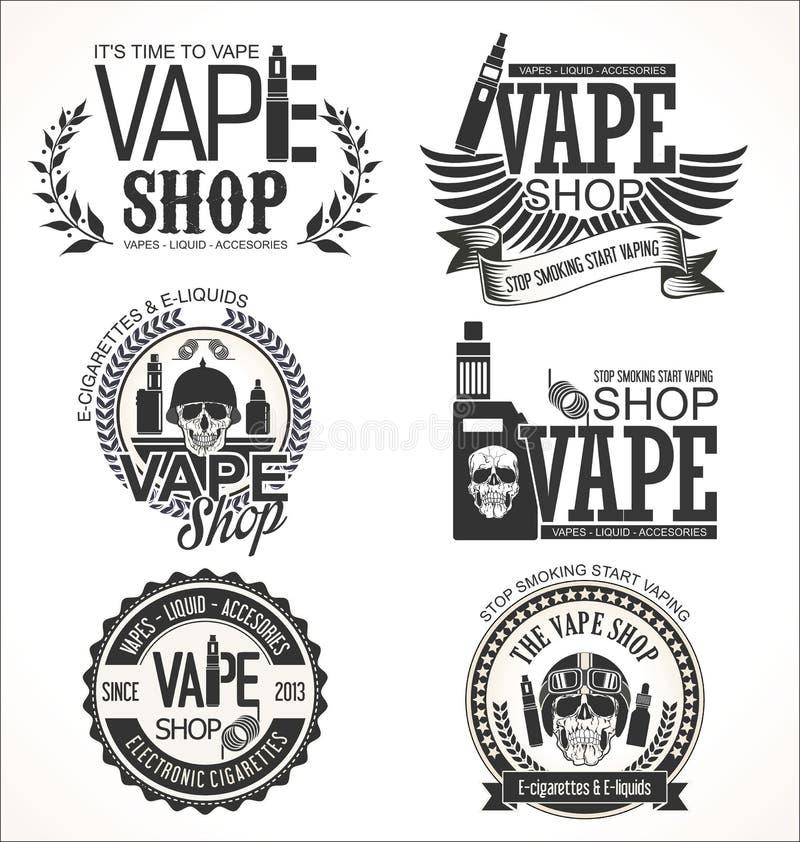 Vape sklep przylepia etykietkę retro kolekcję ilustracja wektor