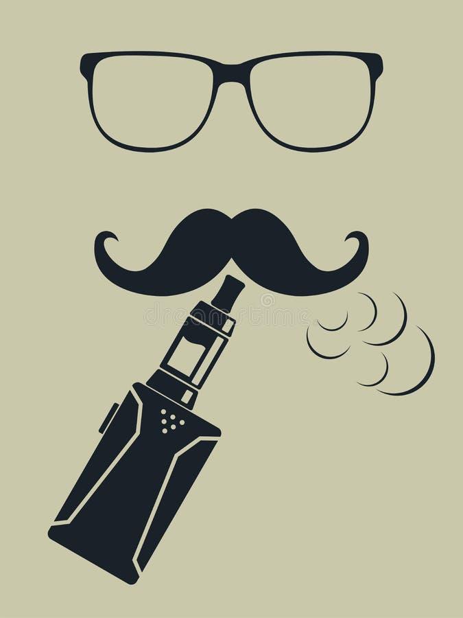 Vapeembleem Hipster rokende verstuiver Vector stock illustratie