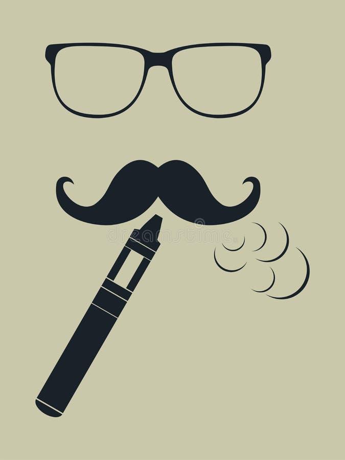 Vapeembleem Hipster rokende verstuiver Vector royalty-vrije illustratie