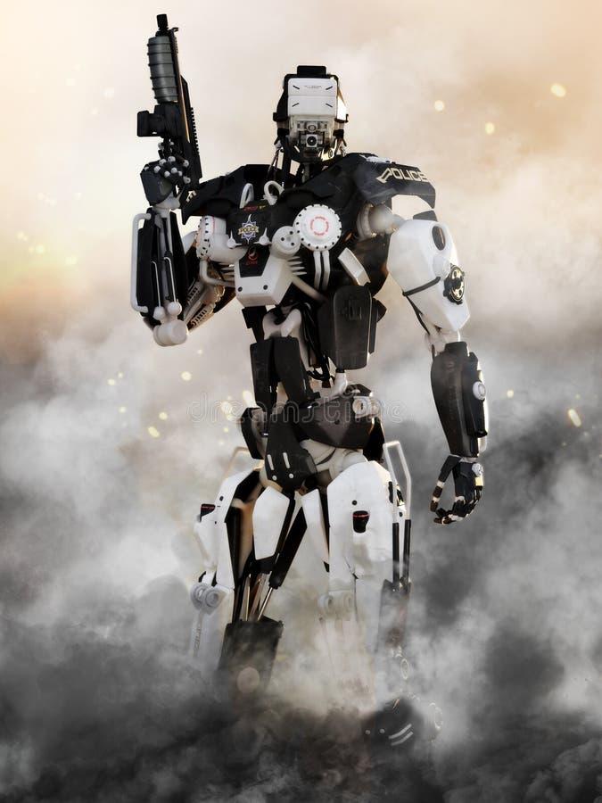 Vapen för den futuristiska polisen för robot bepansrat mech stock illustrationer