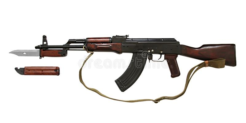 Vapen för Kalashnikov AK med den taktiska kniven av specialförband som isoleras på vit bakgrund arkivfoto