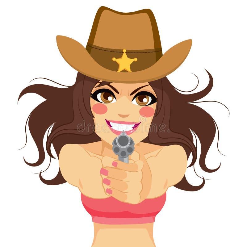 Vapen för skytte för brunettkvinnacowgirl royaltyfri illustrationer