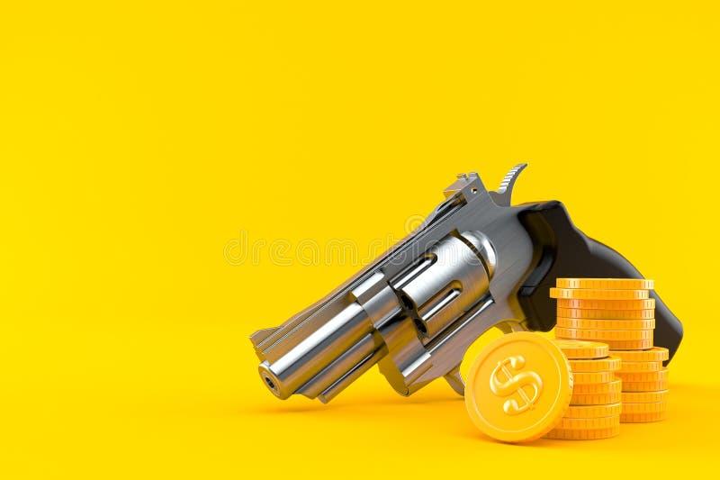 Vapen med bunten av mynt royaltyfri illustrationer