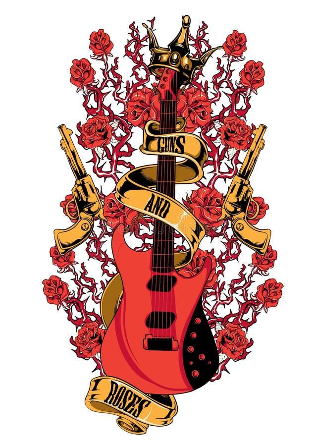 Vapen och rosor vektor illustrationer