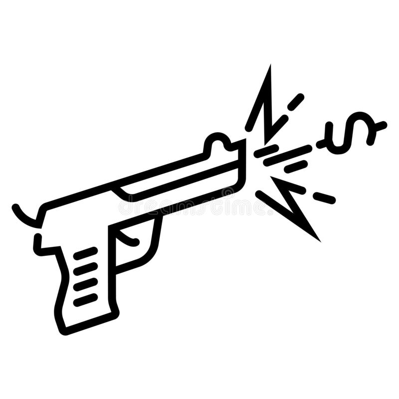 Vapen pistolsymbol royaltyfri illustrationer