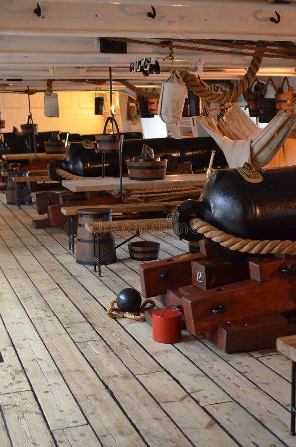 Vapendäck på HMS-krigare arkivfoto