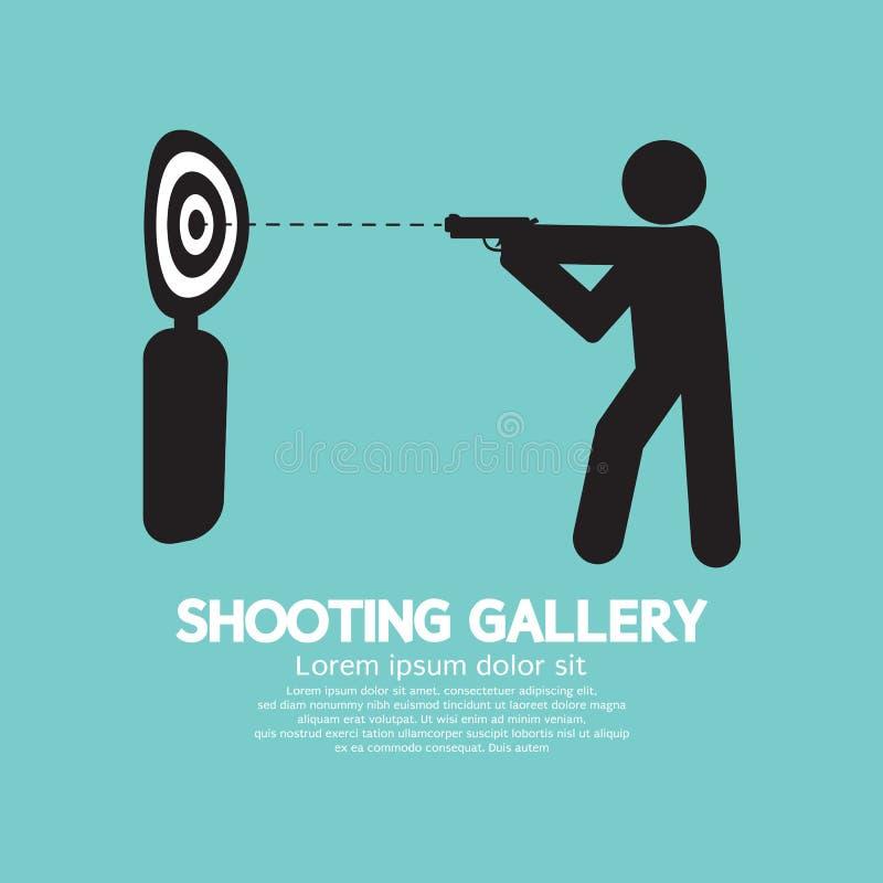 Vapenidrottsman nenAt Shooting Gallery symbol vektor illustrationer