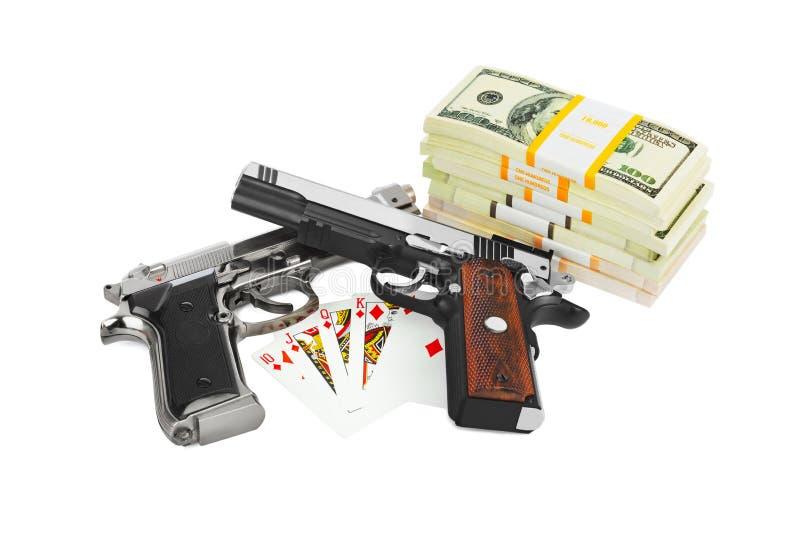 Vapenpengar och spelakort royaltyfria foton