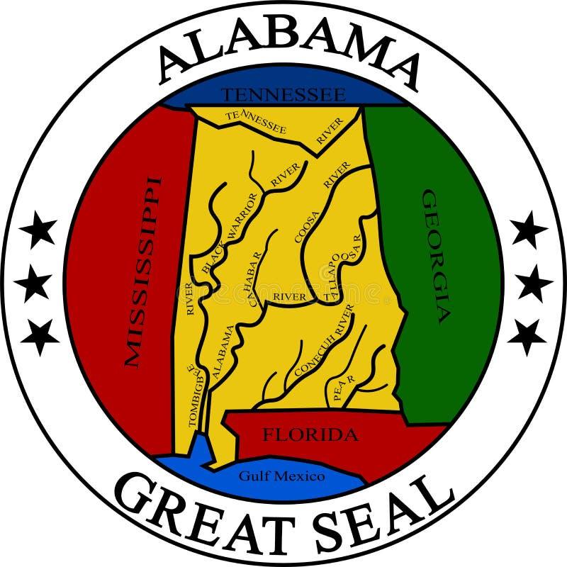 Vapensköld av Alabama, USA stock illustrationer