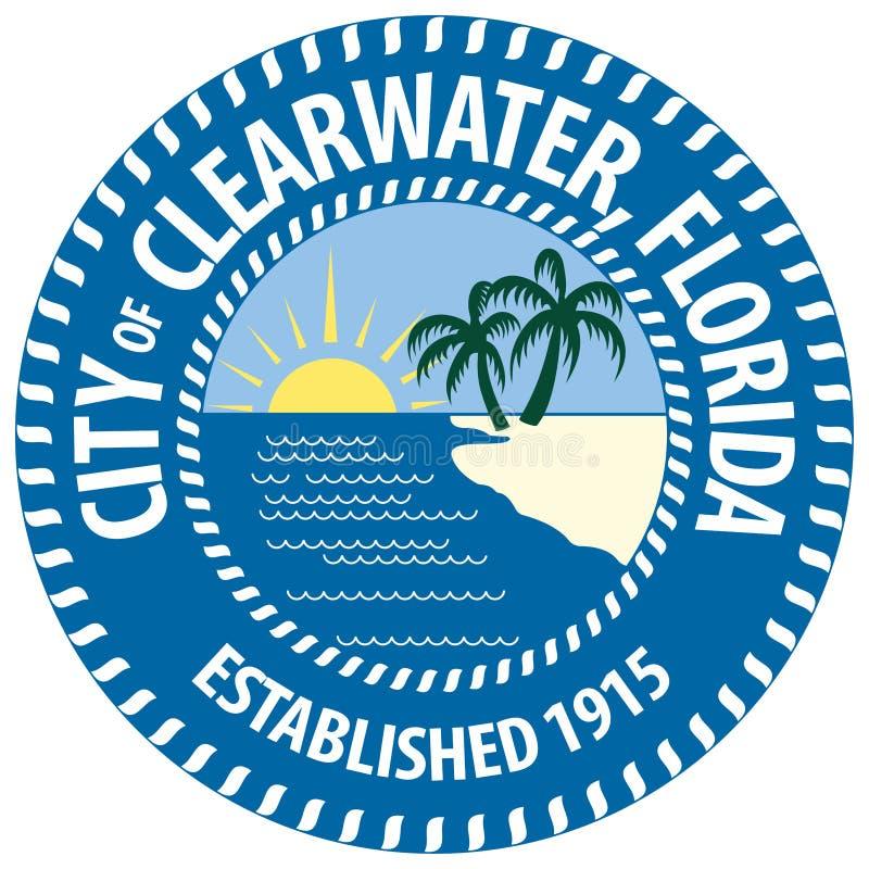 Vapensköld av Clearwater i Florida av Förenta staterna royaltyfri illustrationer