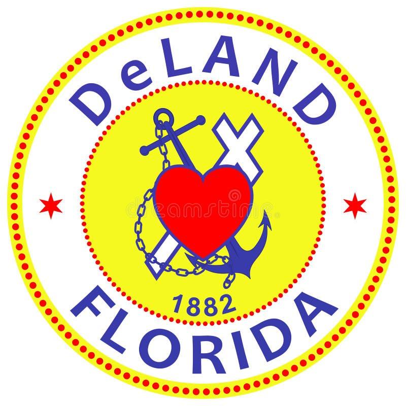 Vapensköld av den DeLand staden i Florida av USA vektor illustrationer
