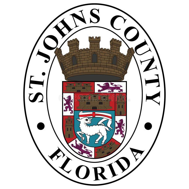 Vapensköld av det St Johns länet i Florida, USA stock illustrationer