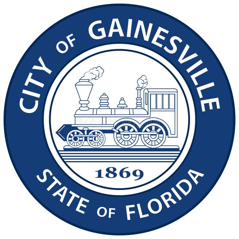 Vapensköld av Gainesville i Florida, USA stock illustrationer