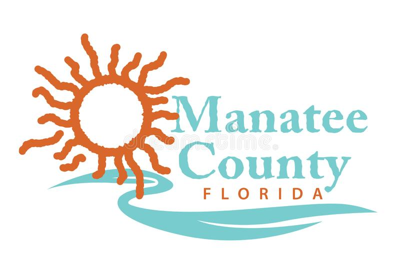Vapensköld av Manatee County i Florida av USA stock illustrationer