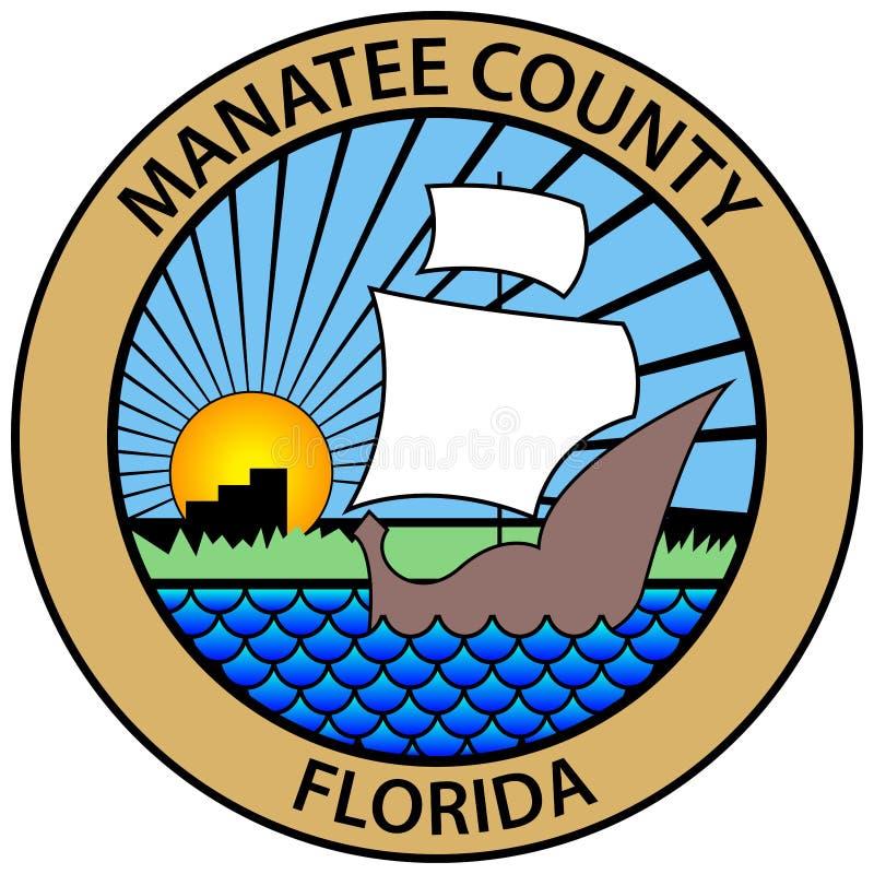 Vapensköld av Manatee County i Florida av USA royaltyfri illustrationer