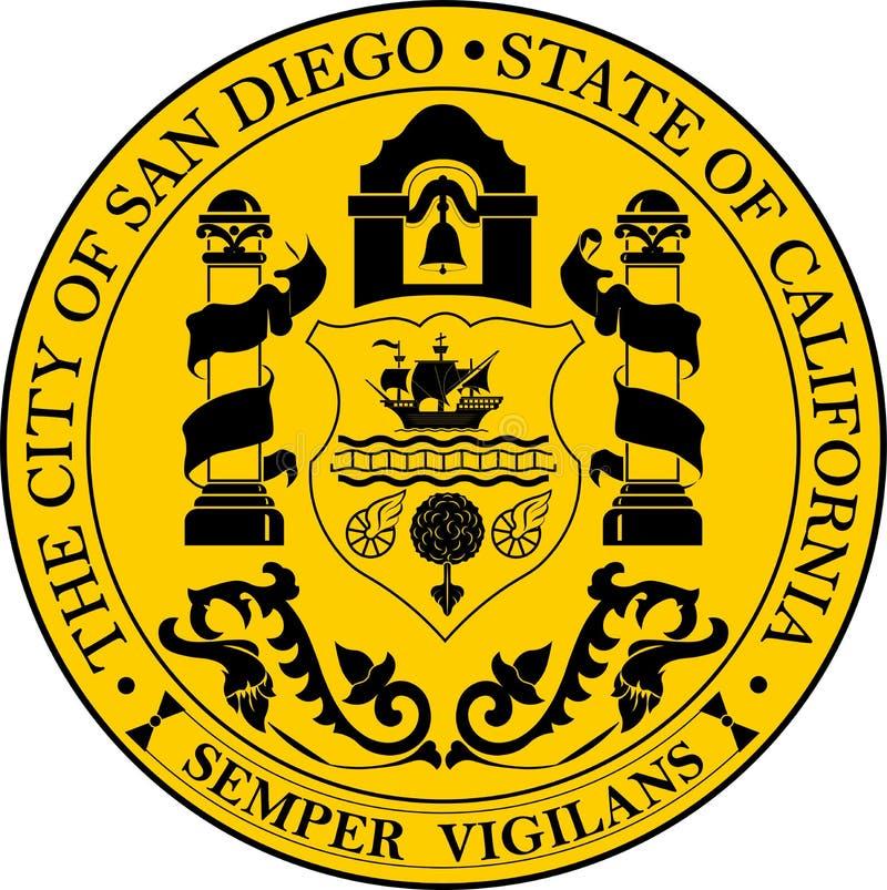 Vapensköld av San Diego City, Kalifornien, USA royaltyfri illustrationer