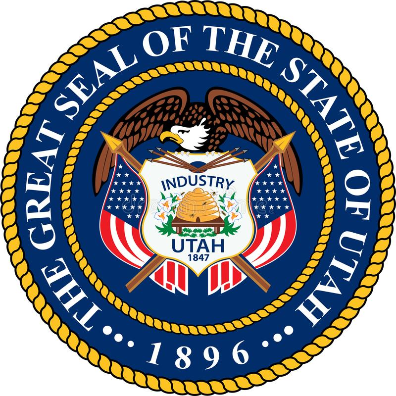 Vapensköld av Utah, USA vektor illustrationer