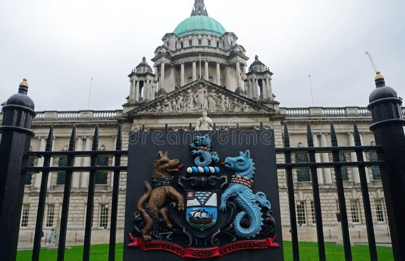 Vapensköld Belfast som är nordlig - Irland royaltyfri bild