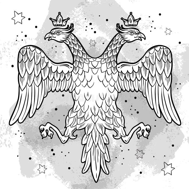 Vapensköldar av den ryska välden Krönade dubblett-hövdade örnar Hand-dragen isolerad vektorillustration Rysk nationell konst royaltyfri illustrationer