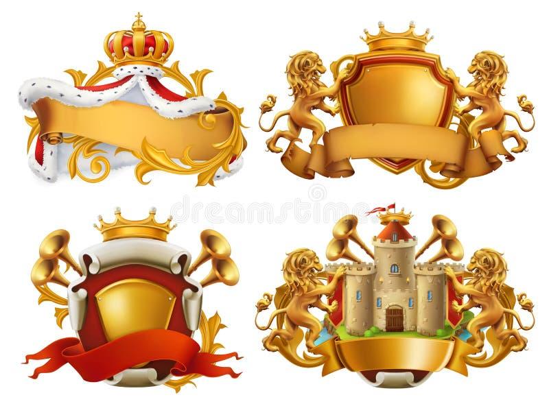 Vapensköldar Konung och kungarike Vektoremblemuppsättning royaltyfri illustrationer