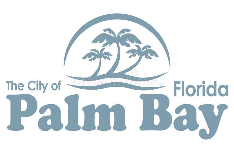 Vapenskölden av gömma i handflatan fjärden i Florida av USA royaltyfri illustrationer