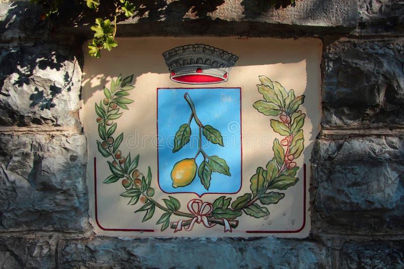 Vapenskölden med bilden av stadsfilialen av citronen royaltyfri foto