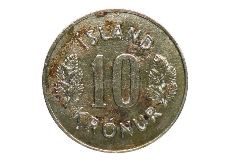 Vapensköldmynt för 10 Kronur, bank av Island arkivbild