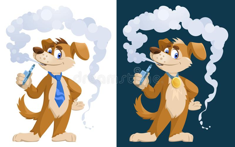 Vaper de chien Chien drôle fumant la cigarette électronique illustration de vecteur
