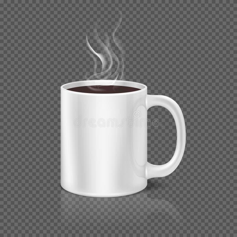 Vapeur blanche au-dessus d'illustration de vecteur de tasse de café ou de thé illustration de vecteur