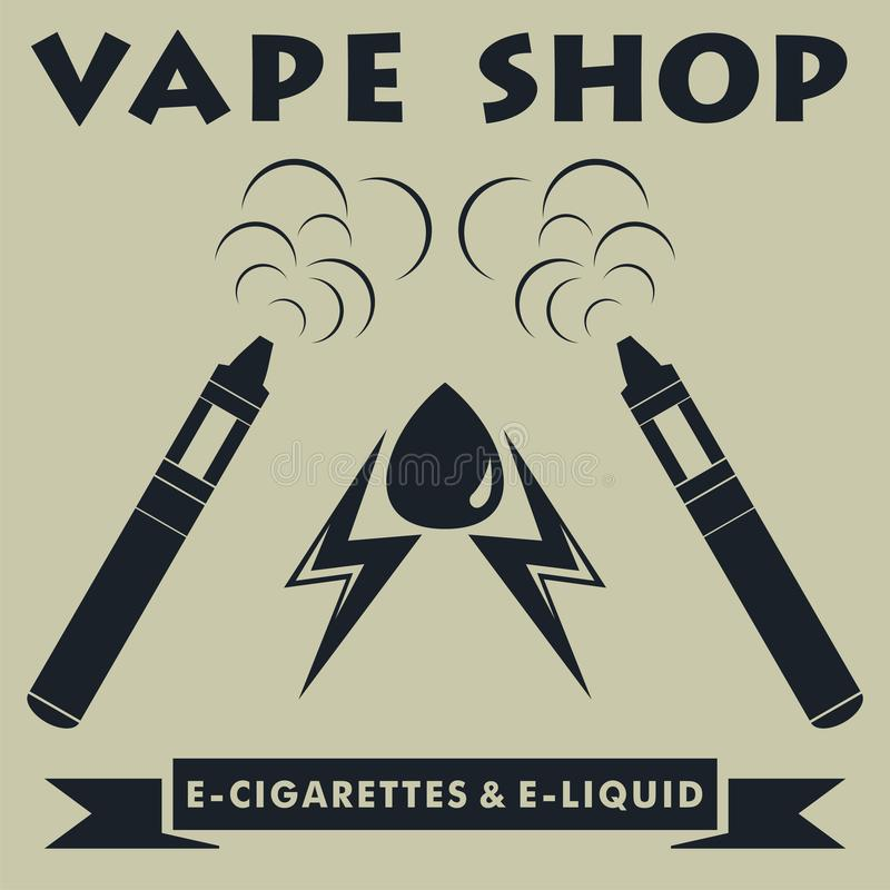 Vapewinkel logotype Vape e-sigaret embleem Vector illustratie royalty-vrije illustratie