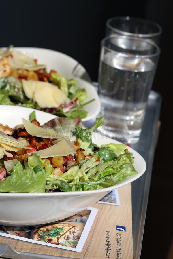 Vapiano`s special Insalata di Nobile with Extra Chicken stock images