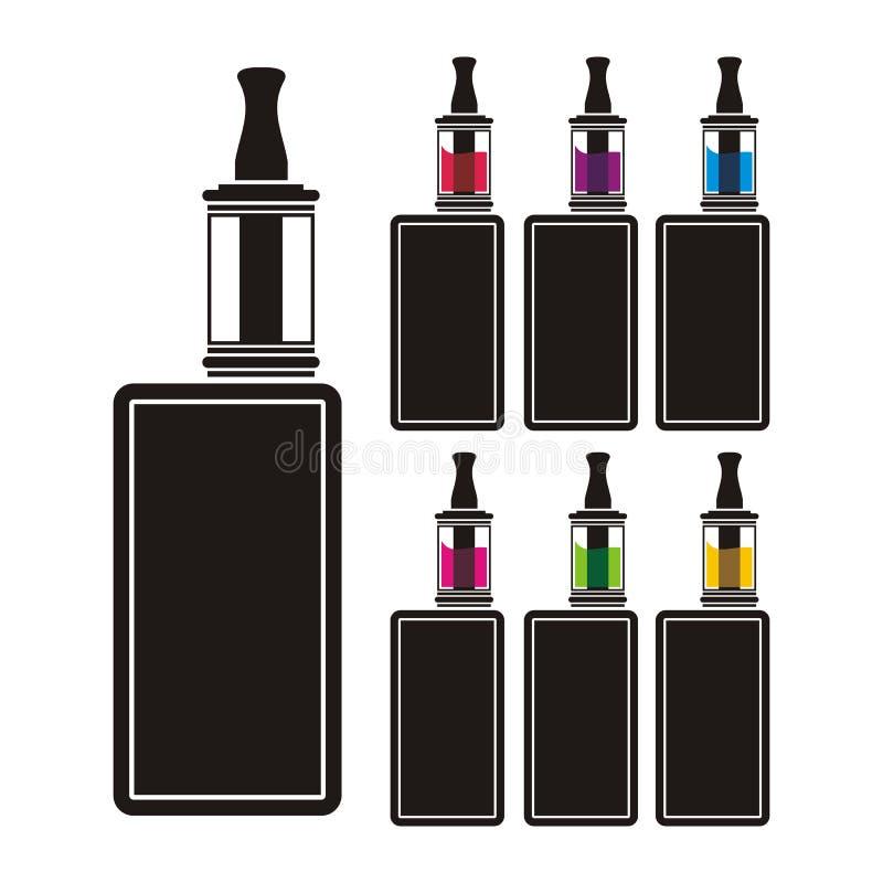 Vaping apparat - färgrik flytande stock illustrationer