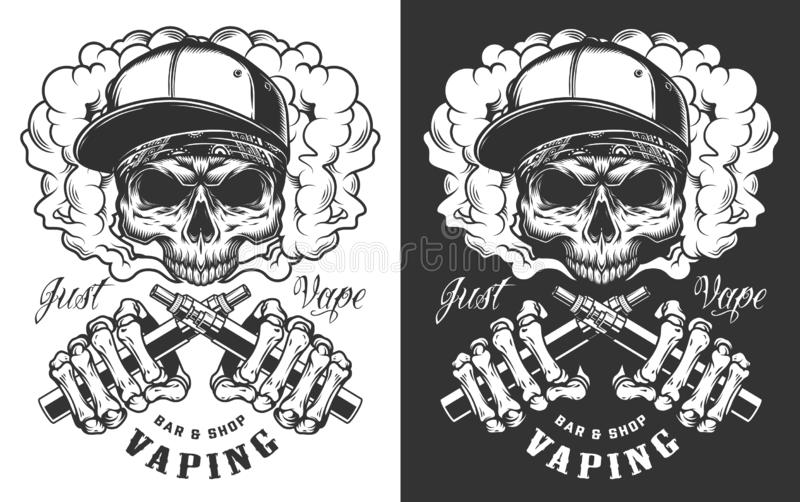 Vaping apparel design. With skull. Vector illustration royalty free illustration