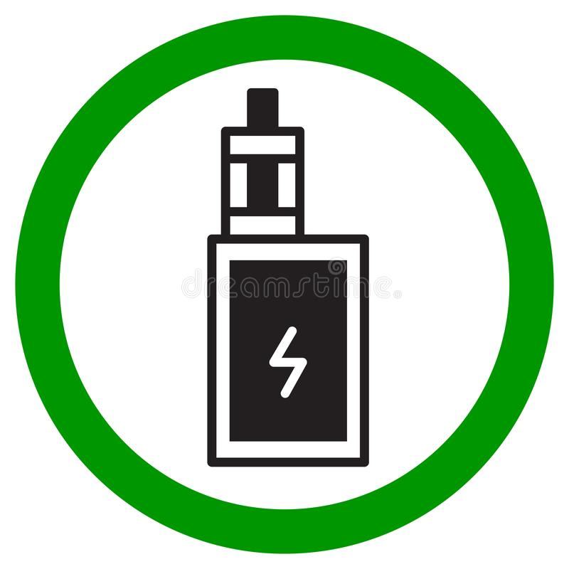 VAPING AREA sign. Electronic cigarette icon. Vector royalty free illustration
